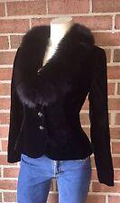 Neiman Marcus Victor Costa NAHDREE Velvet Blazer Jacket Fox Fur Collar Black 8