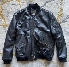 ALPHA INDUSTRIES⚡️MA-1 Men black leather flight pilot bomber jacket size Medium