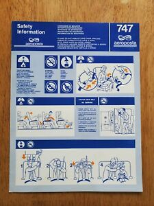AeroPosta Argentina Boeing 747-100 safety card (from N747PA)