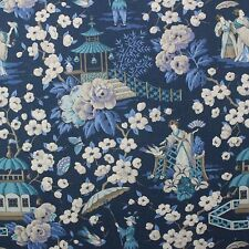 """P KAUFMANN SUMMER PALACE ZEPHYR BLUE CHINOSERIE ASIAN TOILE FABRIC BY YARD 54""""W"""
