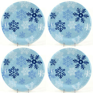 """Target Home WINTER FROST SNOWFLAKES 10.75"""" Dinner Plate Set Christmas Blue White"""