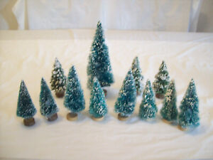 LOT OF 12 ASSORTED FLOCKED CHRISTMAS BOTTLE BRUSH TREES