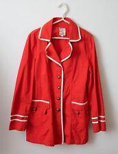 Tulle Anthropologie Orange White Trim Jacket Coat Size XL Fall Casual