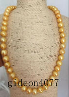 "24"" AAA 11-12MM SOUTH SEA NATURAL Golden baroque PEARL NECKLACE 14K CLASP"