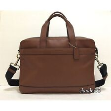 New Coach F54801 Hamilton Leather Briefcase Laptop Crossbody Bag Saddle Brown
