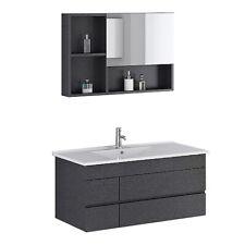 Badset Badmöbel Waschtisch Appenzel black Waschbecken Spiegelschrank Badmöbelset