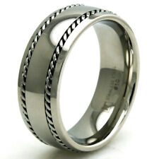 Stainless Steel Classic Dual Chain Mens Biker Ring 8MM | FREE ENGRAVING