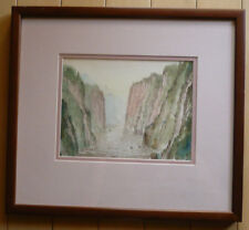DENG SHAOYI LISTED CHINESE CHINA ARTIST RIVER GORGE WATERCOLOR SUPERB LANDSCAPE