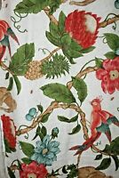 Lillian August Fabric Remnant Tropical Monkeys Birds 56X23 Screen print
