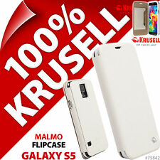New Krusell Malmo Flip Case For Samsung Galaxy S5 Plain White Cover Wallet Folio