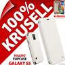 New Krusell Malmo Flip Case For Samsung Galaxy S5 Plain White Cover Wallet Folio