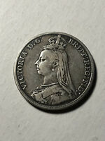 1890 Great Britain Queen Victoria Silver Crown Coin, VF Condition