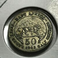 1942 EAST AFRICA LION SILVER 50 CENTS COIN