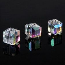 20pcs DIY Faceted Square Cube Cut Glass Crystal Charm Finding Loose Spacer Beads