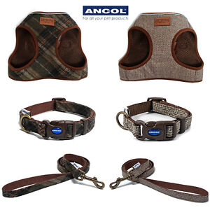 Ancol Country Check Dog Step in Harness Collar Leads Luxury Tweed Herringbone