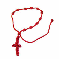 Christian Handmade cord red knotted thread rosary beads bracelet knot rope