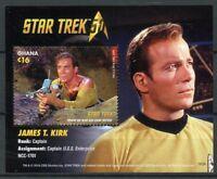 Ghana 2016 MNH Star Trek 50th Anniv Captain James Kirk 1v S/S Stamps