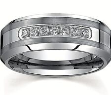 Men's Tungsten Carbide Ring Silver Tungsten Engagement/Wedding Ring 7 CZ Band