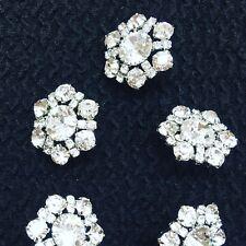 Magnifique lot  5 gros Bouton 20mm Strassés Diamanté forme fleur