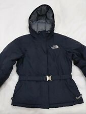 Ladies North Face Down Black Hooded Belted Warm Winter Jacket