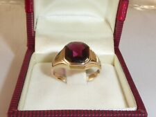 585 Gelbgold 14K Gold Amethyst Lila Stein Ring Goldring RG 52-16,5 mm 1954