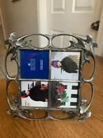 """Burnes Lacquer Coated Silver? Pewter? Picture Frame 9x9"""" Table Standing"""
