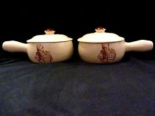 "SET OF 2 HOLLY HOBBIE ""HEARTH & HOME"" OVEN-PROOF CASSEROLE DISH HANDLE KOREA '79"