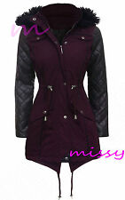 NEW Womens LADIES PARKA JACKET Quilted PU Sleeves WINTER COAT FISHTAIL Size 8-16