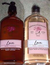 Bath & Body Works~Aromatherapy~New~*LOVE*~Rose & Vanilla~Body Lotion & Wash