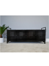 Industrial Metal Cabinet With Four Doors Retro Style Storage Furniture
