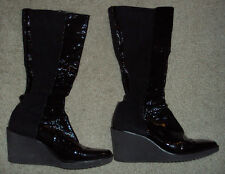 Donald J Pliner boots 11M BLACK SUEDE & LEATHER WEDGE JUST BELOW KNEE $400+