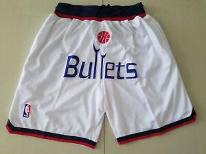Washington Wizards White Retro Basketball Shorts Size: S-XXL