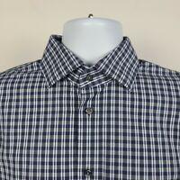 Calibrate Trim Fit Blue Check Plaid Mens Dress Button Shirt Size 15.5 32/33