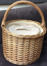 Round Wicker Picnic Basket Cooler With Zipped Linen Cover NEW