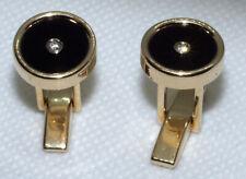 14K Solid Yellow Gold Beautiful Pair Of Black Onyx And Diamond Cufflinks 11.3 Gr