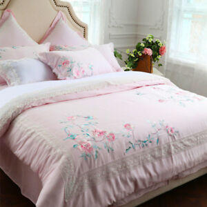 White Egyptian Cotton Princess Bedding Set Bed Sheet/Linens Duver Cover 4/7pcs