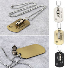 Men's Army Military Bullet Black Dog Tag Pendant Necklace Beads Chain Jewelry