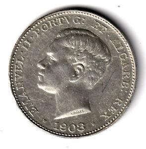 PORTUGAL 500 Reis plata 1908 Rey Manuel II
