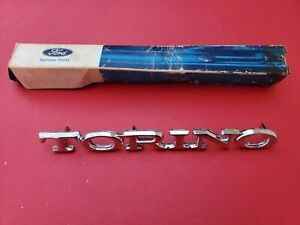 NOS 1972 - 1976 FORD TORINO FENDER EMBLEM D1OB-65291B62-AB - TORINO NAME BADGE