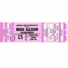 MOSE ALLISON & PASSENGER Concert Ticket Stub AUSTIN 6/15/79 ARMADILLO WORLD Rare