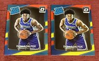 Lot of (2) 2017-18 Donruss Optic De'ARRON FOX Rated Rookie Red Yellow #196 RC🔥