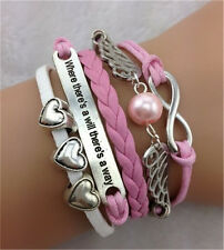 HOT Infinity Heart Angel Wings Friendship Leather Charm Bracelet Plated Silver !