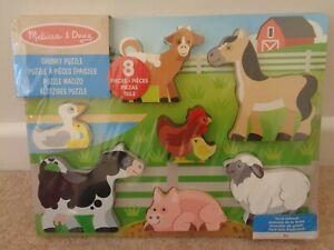 Melissa & Doug Chunky Wooden Puzzle Farm Animals 8 Pieces