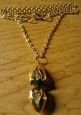 Halskette vergoldet **doppelter Glas-Steinanhänger im brilliant Schliff**weiß