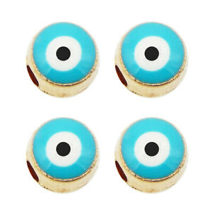 6mm Evil Eye Enamel Round Loose Spacer Bead Turkish Bracelet Craft Jewelry 12PCS