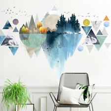 Wall Stickers Geometric Mountain Forest Removable Decor Kids Nursery DIY Gift