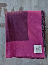 Nido Notte Italy Wool Blend Throw Raspberry Red and Purple Color Block - New