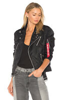 Alpha Industries Women Outlaw Biker Black Jacket Classic Moto Bomber NWT Small