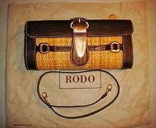 Rodo elegante borsa in pelle stampata (lucertola) bronzo e midollino  nuova
