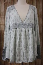 Free People Rolling Hills Mixed Print Bell Sleeve Tunic Mint Green Women's XS